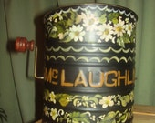 SALE---Beautifully handpainted vintage McLaughlin flour sifter with wooden handle & crank knob, makes a wonderful Mother's day gift