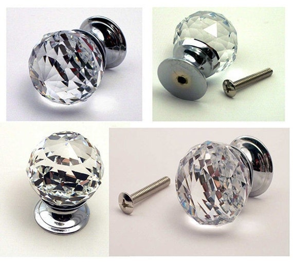 cabinet door pull knobs crystal drawer pulls diamond cut clear round k9 crystal doorknob drawer. Black Bedroom Furniture Sets. Home Design Ideas