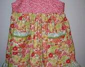 SALE - SALE - SALE Adorable Sundress with tie straps, two pockets and ruffle (size 4 to 5)