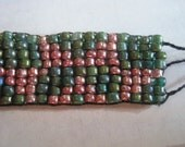 Native American Seed Bead Bracelet -Pink and Teal Suns