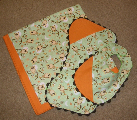 Owl Receiving Blanket Set - orange