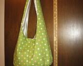 Handmade Lime Green Dotted Hobo Bag