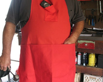Handmade Fathers Day Red Shop Apron