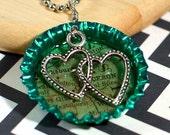 JACKSON - Destination: LOVE Personalized Map Resin Bottle Cap Pendant (Green), Double Hearts Dangle Charm - Long Distance Relationship
