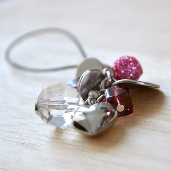 Bling Phone Charm with Pink Glitter Ball, Heart & Crystal - Shine and Sparkles Charm Cell Phone or Zipper Pull Accessory