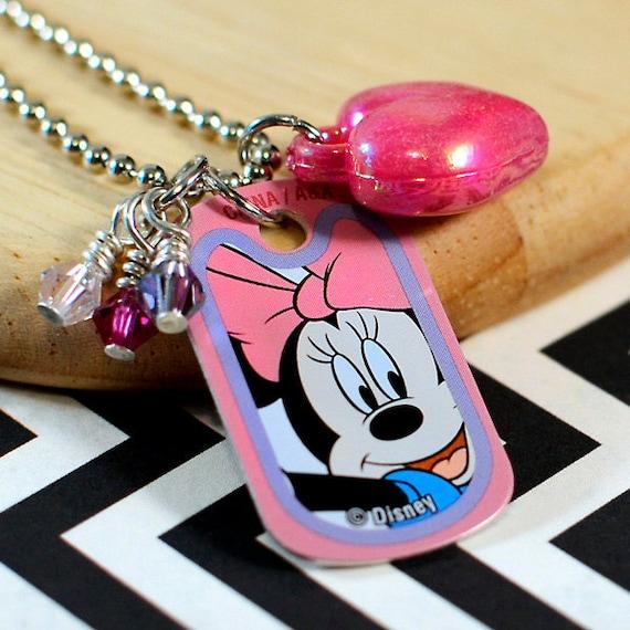 Disney Charm Necklace - Minnie Mouse - Metal Mini Dog Tag with Acrylic Heart Charm, Wire Wrapped Swarovski Crystals