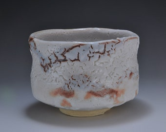 Shigaraki, anagama, ten-day anagama wood firing, with shino glaze tea bowl. chawan-52