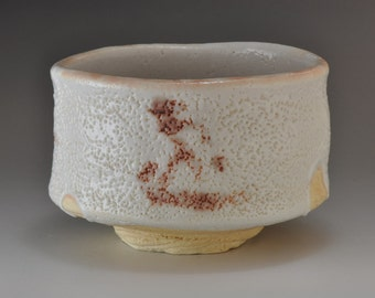 Shigaraki, anagama, ten-day anagama wood firing, with shino glaze tea bowl. chawan-50
