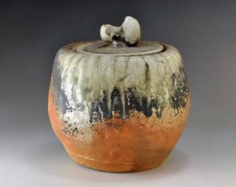 Shigaraki, anagama, ten-day anagama wood firing, with natural ash deposits water jar. mizu-63