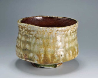 Shigaraki, anagama, ten-day anagama wood firing, with natural ash deposits tea bowl. chawan-21