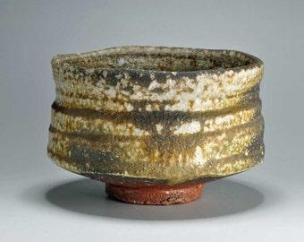 Shigaraki, anagama, ten-day anagama wood firing, with natural ash deposits tea bowl. chawan-31