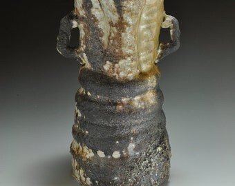 Shigaraki, anagama, ten-day anagama wood firing, with natural ash deposits Iga flower vase. igahana-27