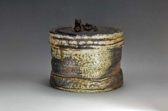 Shigaraki, anagama, ten-day anagama wood firing, with natural ash deposits water jar. mizu-23 (Reserved)