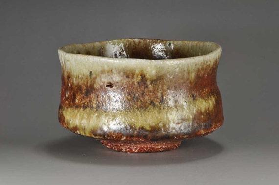 Shigaraki, anagama, ten-day anagama wood firing, with natural ash deposits tea bowl. chawan-44