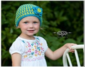Crocheted Bright Blue and Lime Green Girls Hat