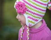 Pink, White, and Lime Green Earflap Hat/Cotton Hat/ Earflap Hat