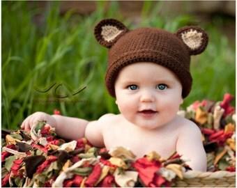 Teddy Bear Hat/photo prop/newborn infant hat