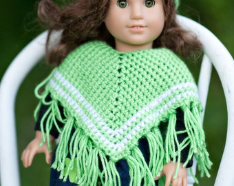 18 inch doll clothes/ Poncho with Matching Hat