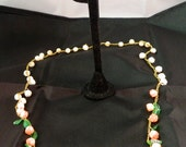 Vintage celluloid flower necklace and earrings