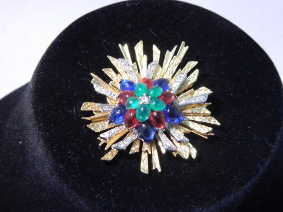 Vintage Brooch - Sunburst with clear chatons and multicolor cabuchons