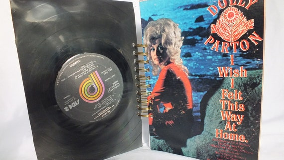 "Altered Record Album Journal - Dolly Parton ""I Wish I Felt This Way At Home"" LP Record Art Handmade"