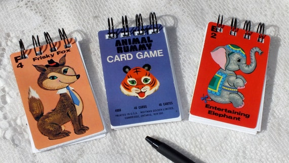 3 Vintage Whitman ANIMAL RUMMY Playing Card NOTEBOOK Set of 3