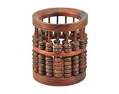 hand carved Rosewood Abacus pen holder