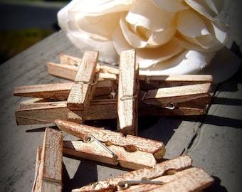 "Set of 50 Vintage Distressed Clothespins 1 3/4"""