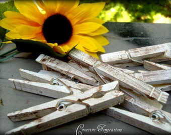 Set of 50 Vintage Distressed Clothespins