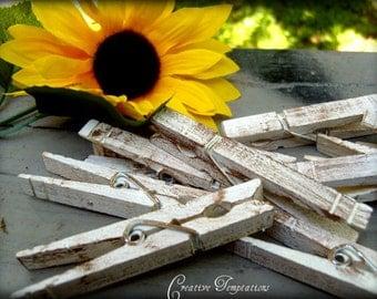 Set of 50 Vintage Distressed Clothespins