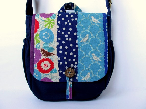 SALE Cross body bag Navy blue Turquoise blue Bird Japanese fabric Maessenger bag