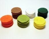 Felt Circles. 60 pieces. Size 2.5cm. For crafts, scrapbooking, headbands, hair clips, brooch
