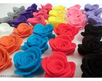 Felt Flower. 10 pieces Size: 35mm. Pick your own colors. scrapbooking. felt supplies, felt roses