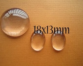 50pcs18x13mm Domed Glass Oval  Cabochon For Pendants