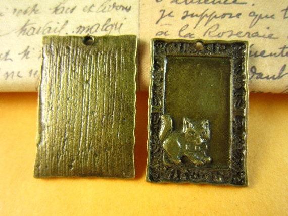10pcs 30x20mm antique bronze cat charm pendant B68M21472EKL
