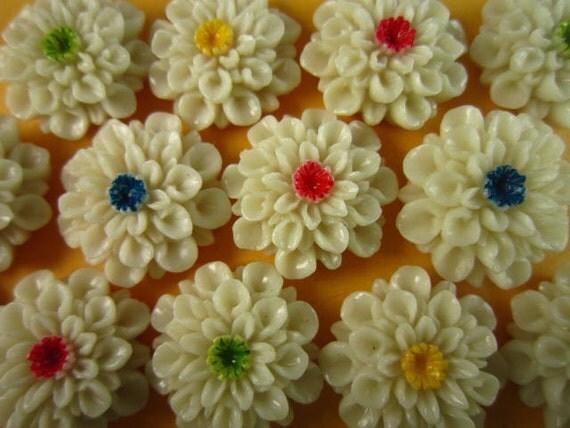 10pcs 22mm mix color resin flower cabochon flat back high quality