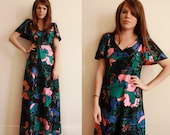 70s Black Party Dress / Pink, Green and Blue Floral Pattern / Hawaiian