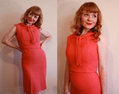 SALE 40% OFF Vintage 1960s Coral Hourglass Wiggle Dress - mad men