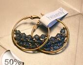 Hoop copper blue swarovski earrings: Midway to London