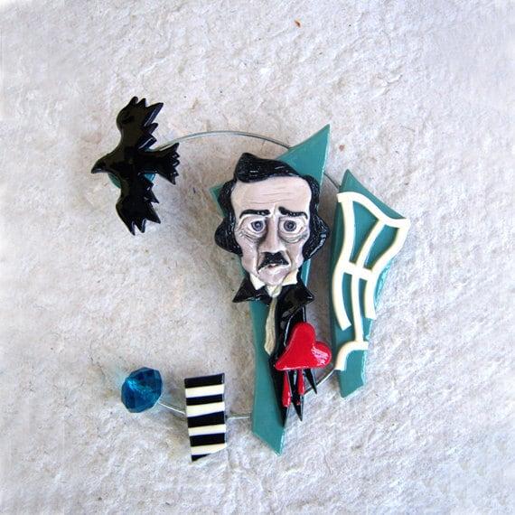 Edgar Allan Poe - polymer clay brooch