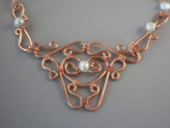 Freshwater Pearl and Copper Wire Wrapped Necklace