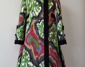 TZAIMS LUKSUS . Masterpiece . Breath-Taking Creation . Burke Amey Wool Jacquard Silk Satin Couture Coat 70s Museum Worthy Extremely Rare