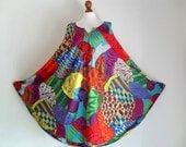The Beautiful You . Fantastic Colorful Print Midi Dress Floating Embroidery 70s Bohemian One Size XXL XL Rare Plus