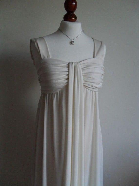 SALE . ESTEVEZ . Cream Goddess . Maxi Party Evening Toga Dress 1970s  XS Draped Bodice Loads Of Jersey
