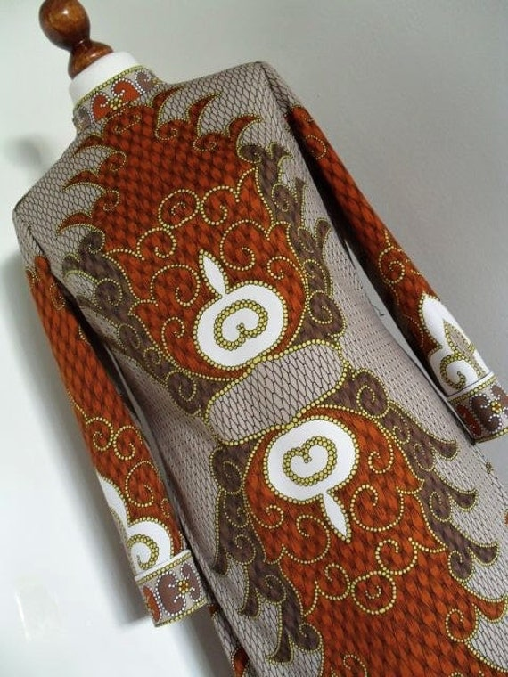 The Tribal Queen . Ethnic Print 70s Dress & Belt medium M Brown And Taupe Tones