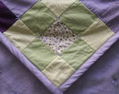 Tied Baby Quilt - Purple & Green Blocks