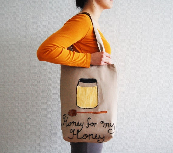 Canvas tote bag. Honey cotton bag/purse. Large bag with embroidery.  Honey spoon. Honey For My Honey.
