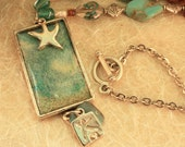 Enameled Seascape and Starfish Necklace N2 SALE 30% OFF