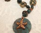 Blue Enamel Starfish Necklace and Earrings