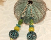 Turquoise and Lime Enameled Dangle Earrings